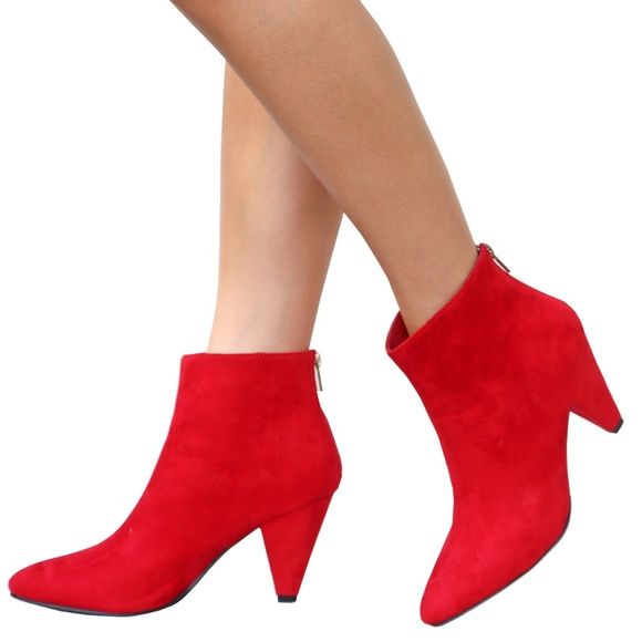 New Red Pointed Toe Chunky Heel Ankle